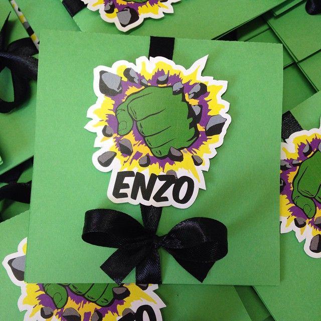 Convites do Hulk para o Enzo u2026 Festa Vingadores Convi u