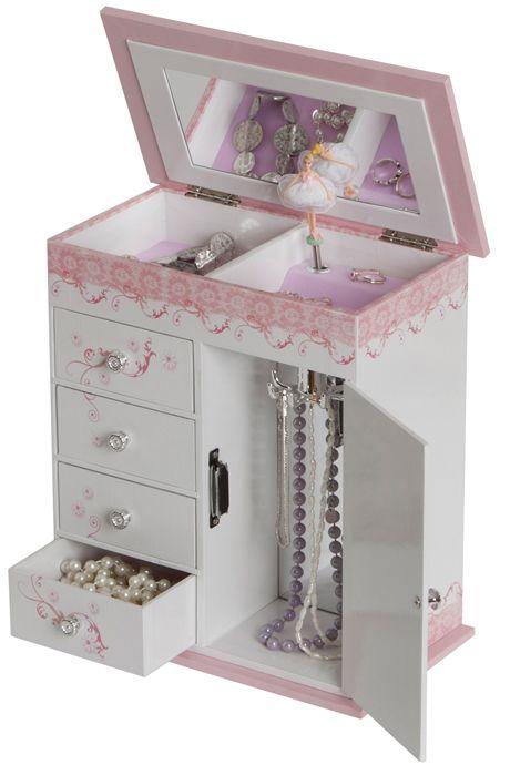 Cristiana Girls Wooden Musical Ballerina Jewelry Box with Fashion