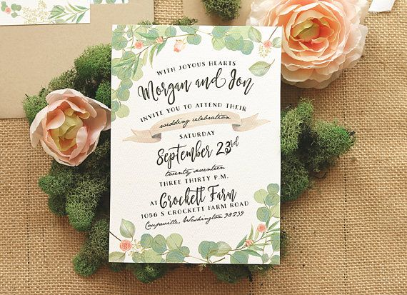 Greenery and Roses Wedding Invitation Set Rustic Wedding