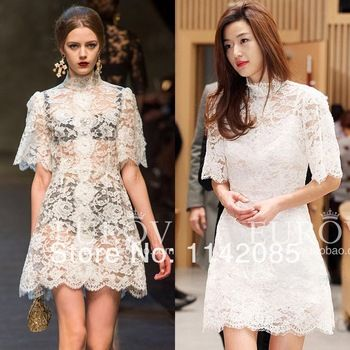 Brand Runway Dress Lace New Fashion 2014 White Hollow Lace Dress Slim Best Quality You Come From The Stars Free Shipping