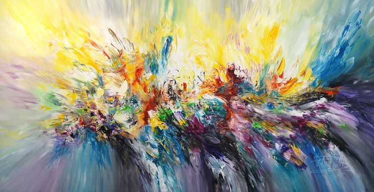 """Splashed L 1 Abstract acrylic painting on canvas, yellow / blue: 61.0 """"w x 29.5""""h x 1.5 """"d"""