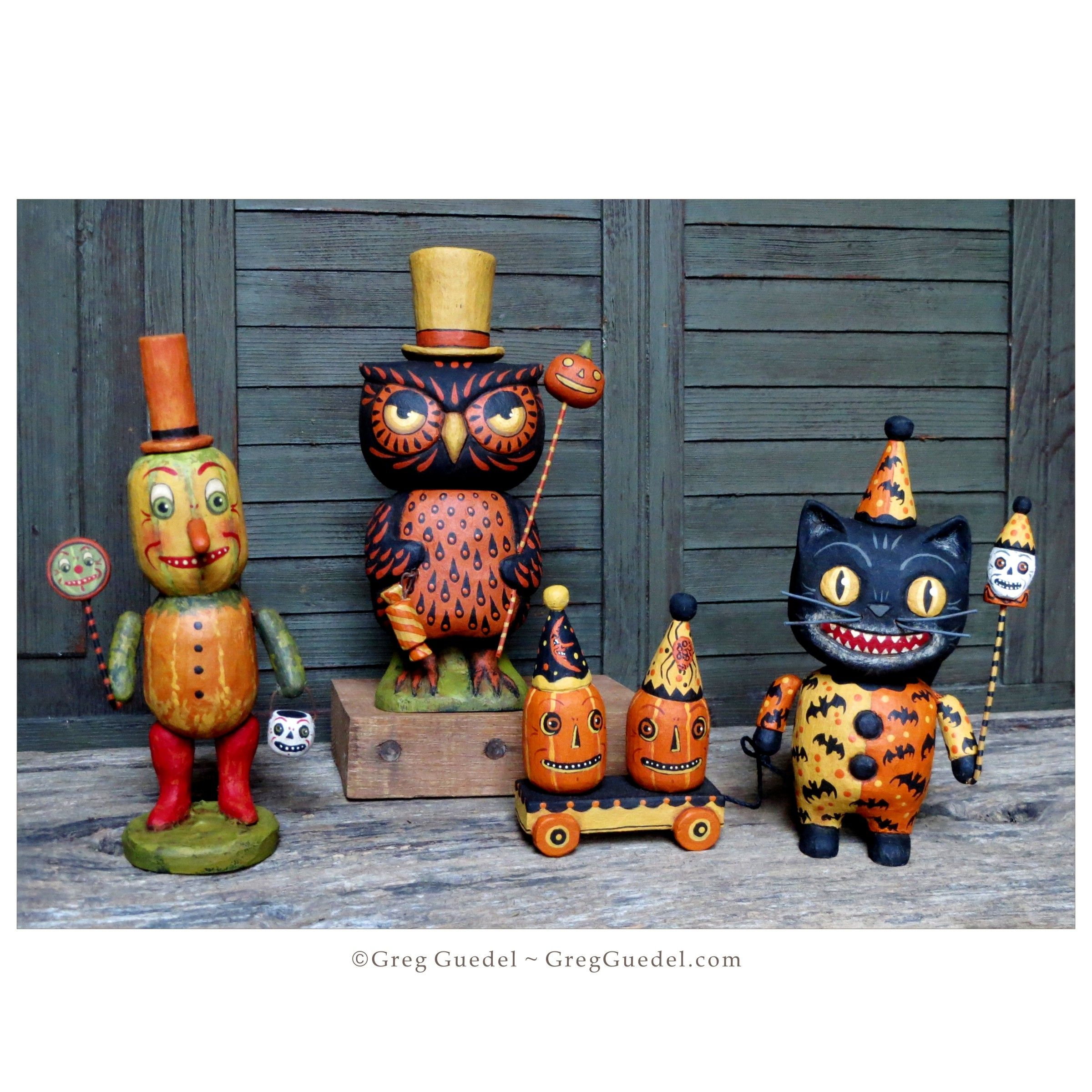Halloween Wood Carvings By Greg Guedel Holidays Halloween Halloween Ornaments Halloween Decorations