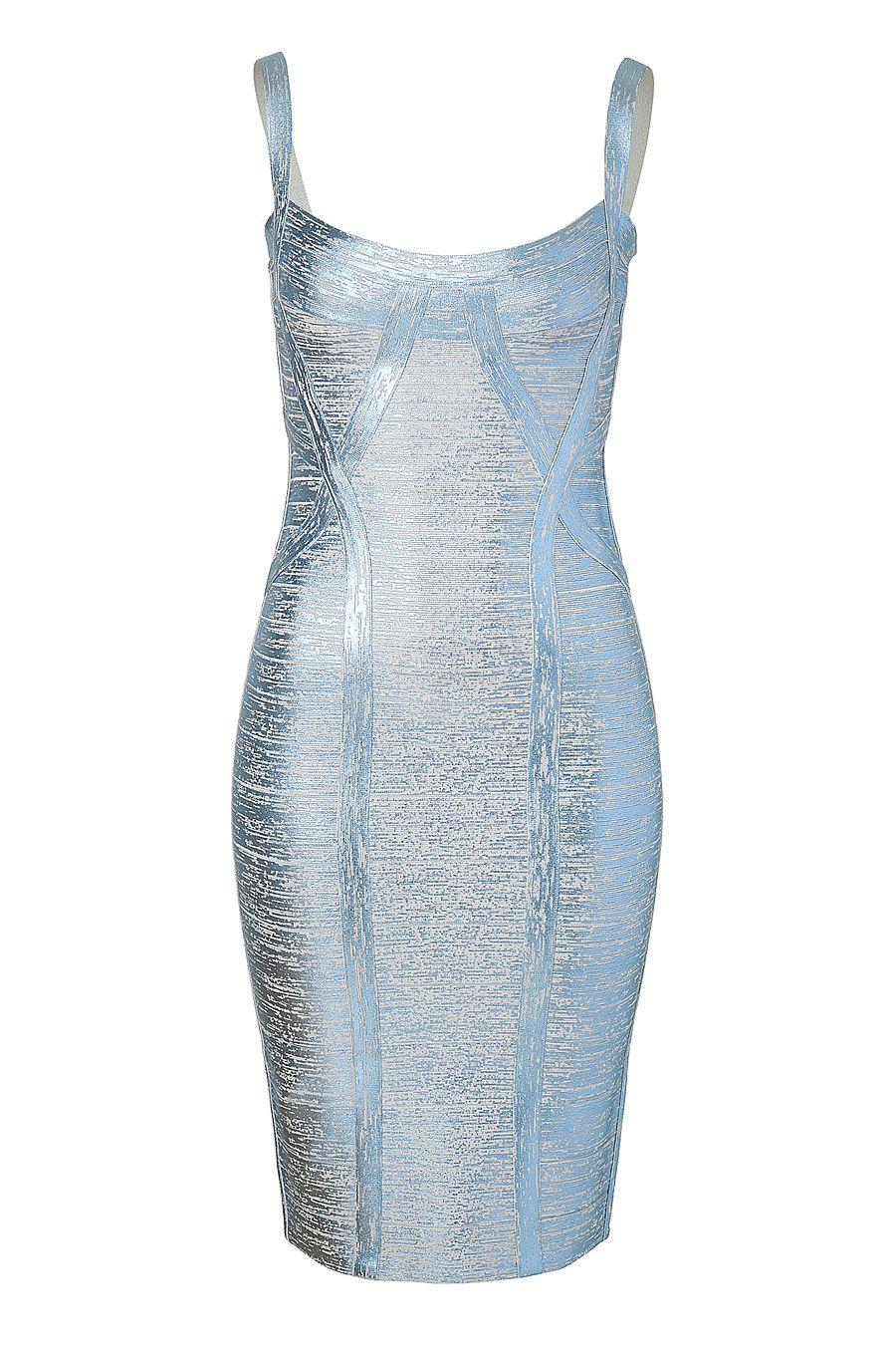 HERVE LEGER  bandage dress in Ice Grey Metallic  was € 1689 - is  € 1013    (- 40%)