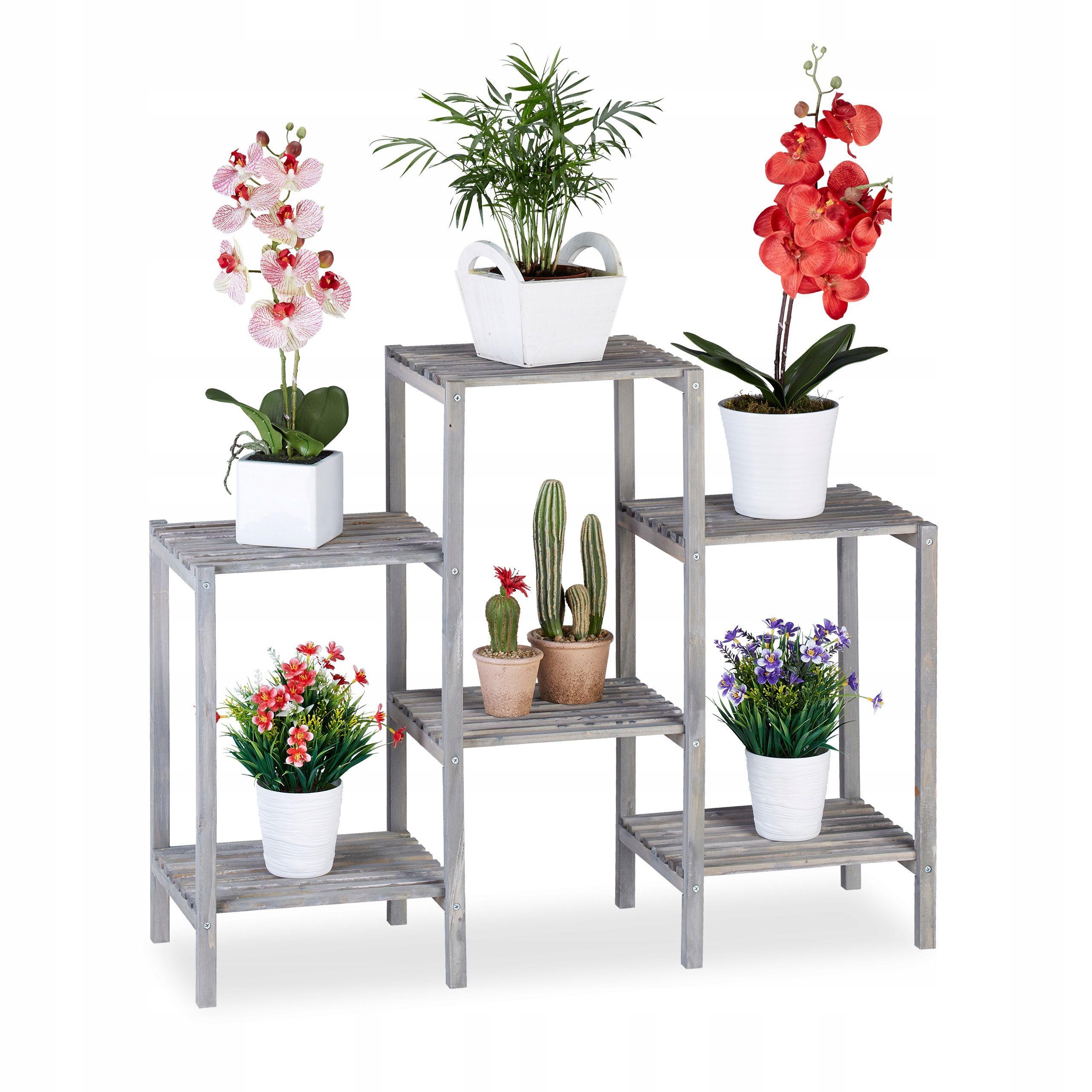 Kwietnik Stojak Na Kwiaty Doniczki Regal 6 Polek Plant Stand Wooden Flowers Kitchen Plants