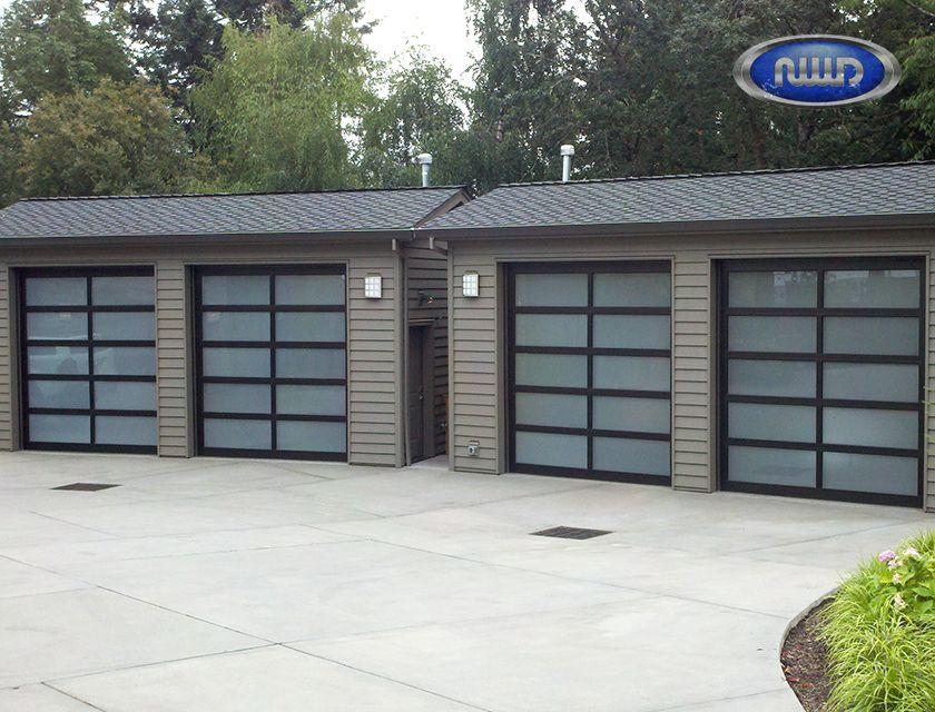 Superior Modern Classic MC52  3 Dark Bronze Anodized Finish   White Laminated Glass    Garage Doors