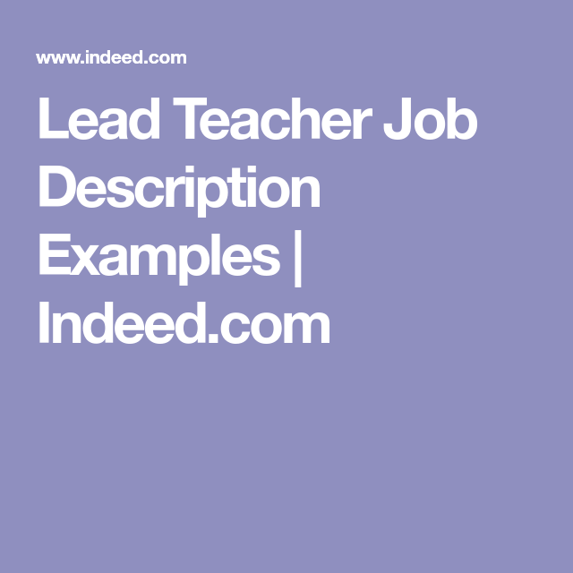 Lead Teacher Job Description Examples  IndeedCom