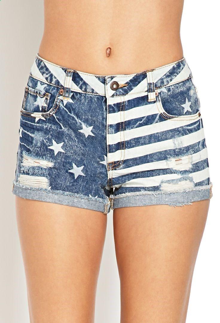 Stars & Stripes Denim Shorts   FOREVER21