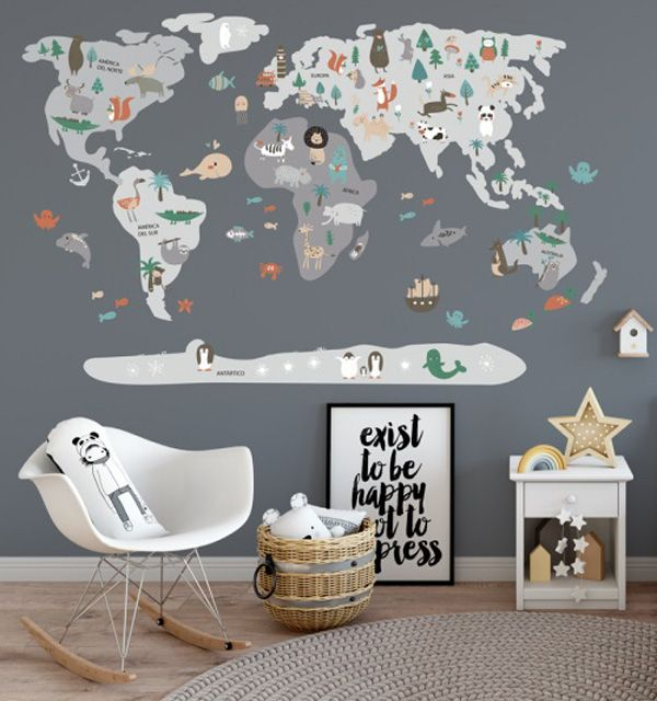 Menudos Cuadros presenta sus vinilos mapamundi  Kids rooms Room
