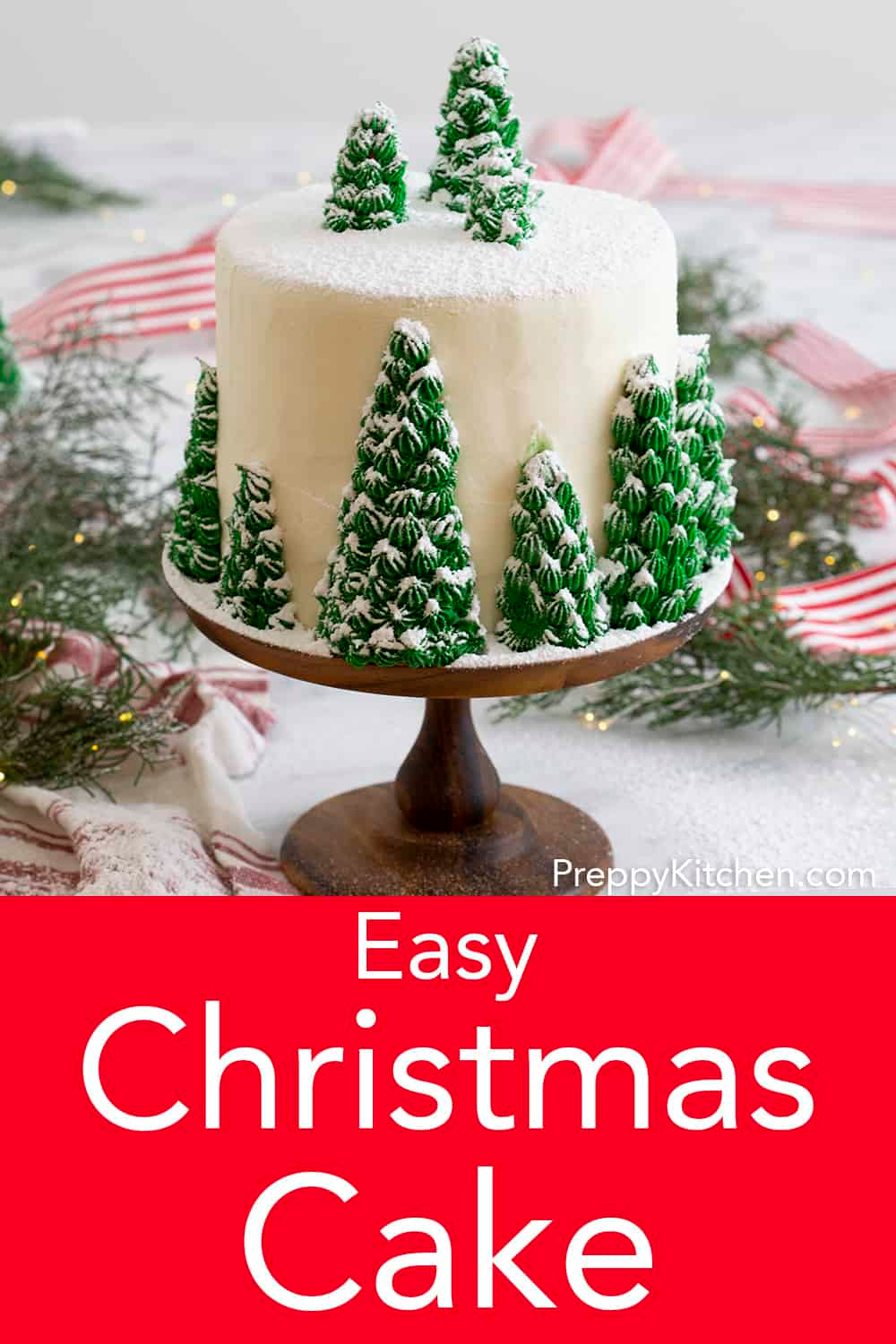 A Delicious Vanilla Cake With Creamy Dreamy Vanilla Buttercream Topped With Beautiful Edible Christm Christmas Cakes Easy Christmas Cake Christmas Tree Cake