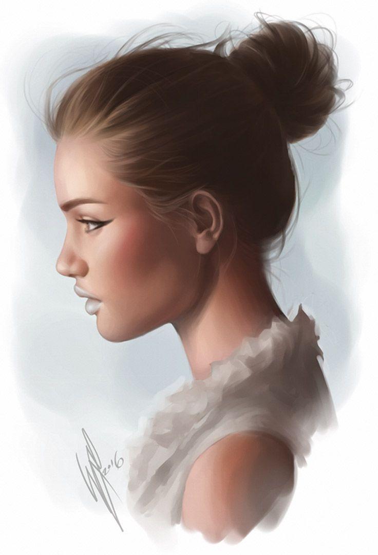 """Happy 2016!"" - WarrenLouw, Photoshop CS3, 2016 {figurative art beautiful female head profile woman face portrait digital painting #loveart} warrenlouw.deviantart.com"