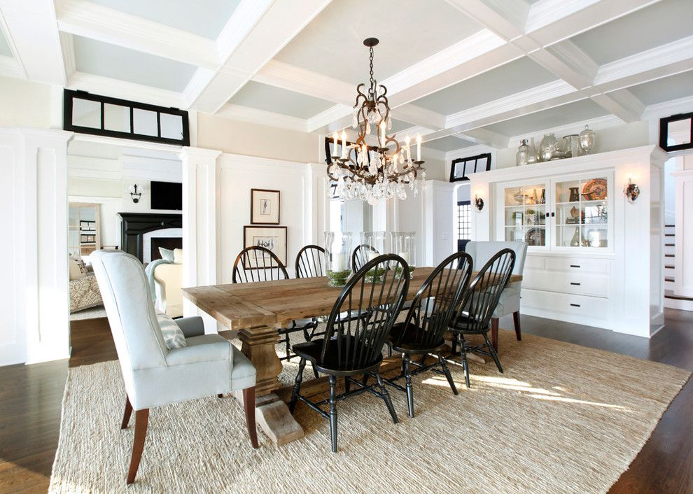 Magnificent trestle table in dining room traditional with for Traditional dining table and chairs