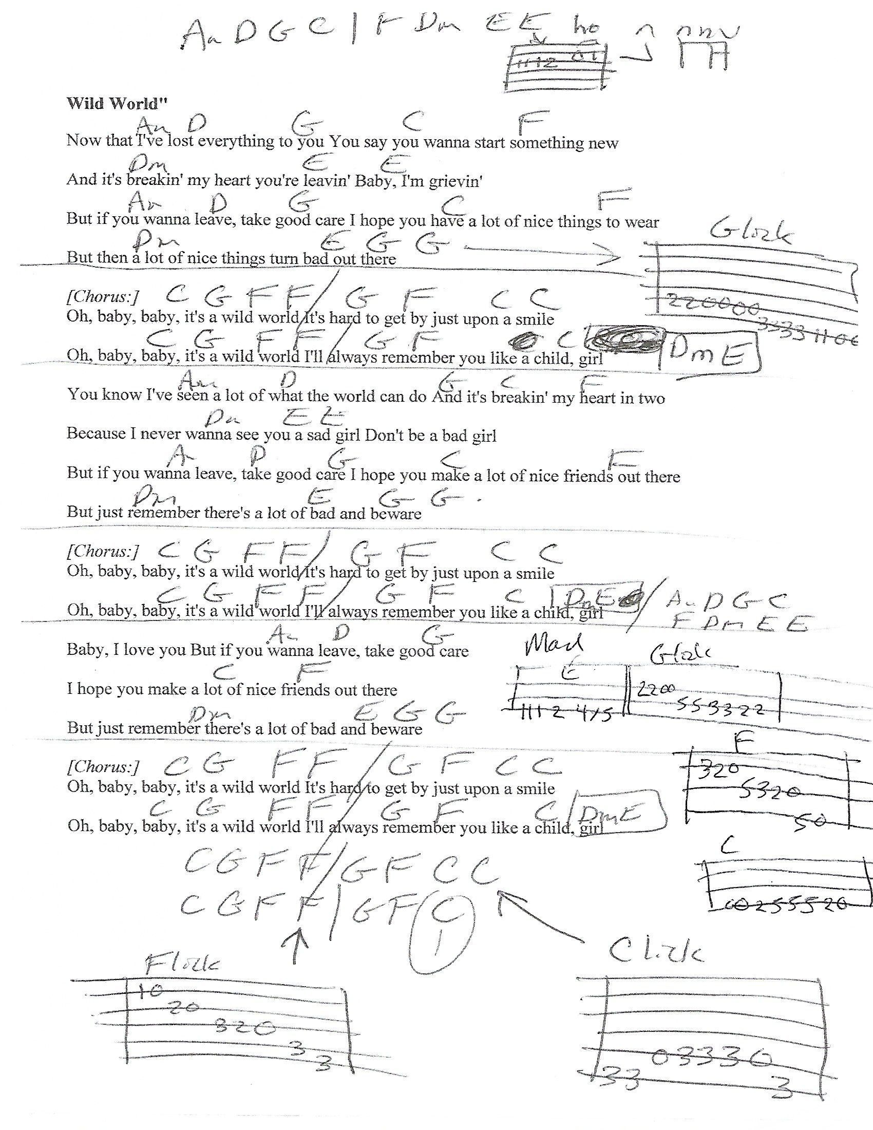 Wild World Cat Stevens Guitar Lesson Chord Chart With Lyrics