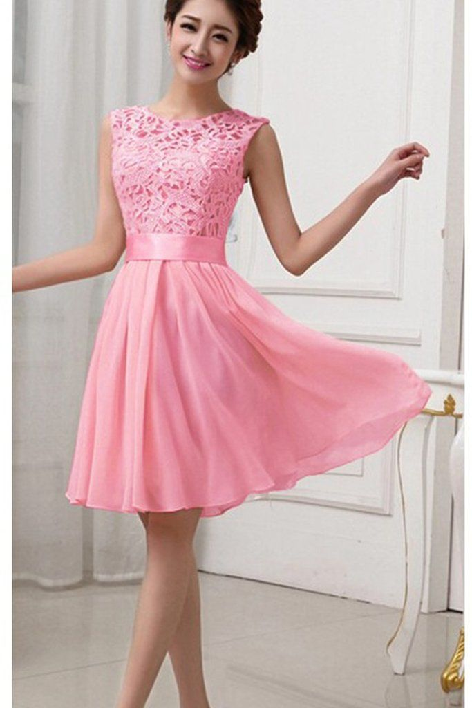 0a6271096fdbb6 Hollow Out Pure Color Lace Chiffon Patchwork Knee-length Party Dress –  MeetYoursFashion