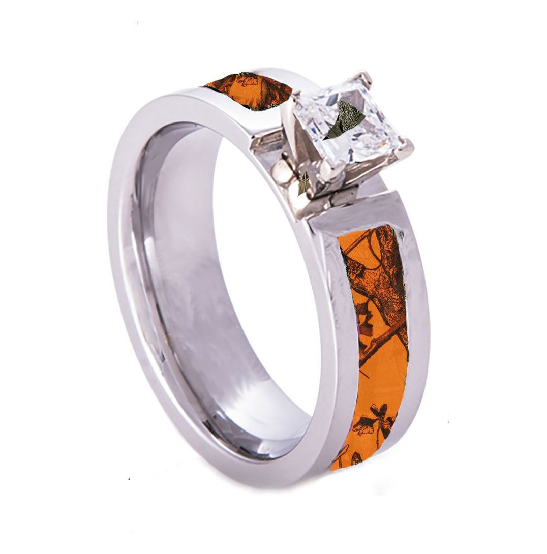 Orange Camo Wedding Engagement Ring Titanium CZ Stone Camo wedding