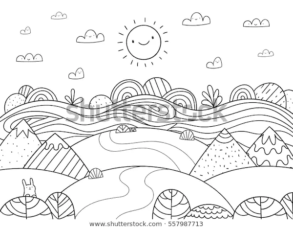 Mountain And River Coloring Pages Background
