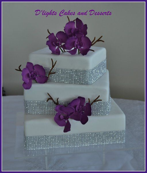 square wedding cakes with bling purple white square wedding cake with bling credit 20416