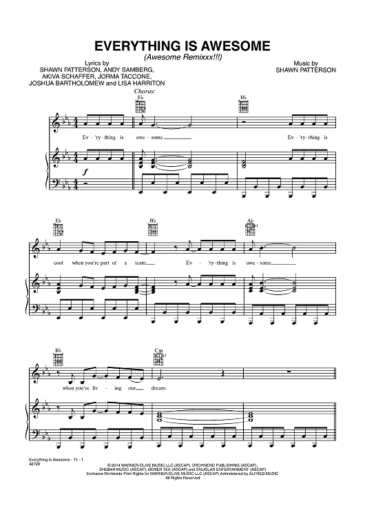 Everything Is Awesome Awesome Remixxx Trombone Sheet Music Music For Kids Everything Is Awesome