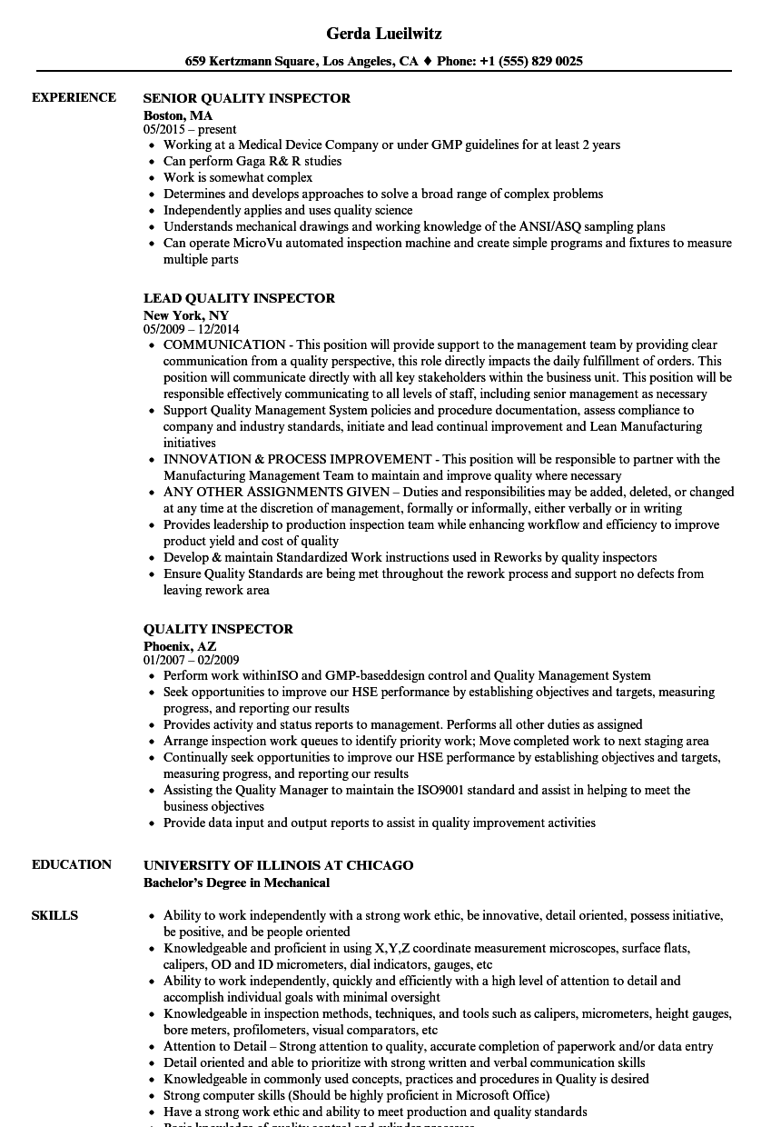 Resume Examples Quality Inspector Good Resume Examples Resume Objective Examples Engineering Resume