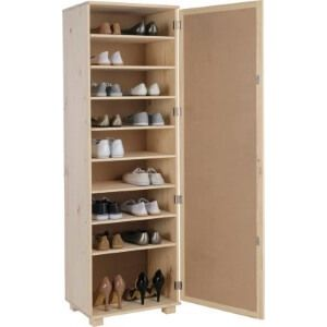 A tall, slim, solid pine shoe cupboard with a mirrored door.