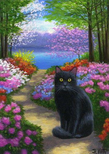 Black Cat Azalea Flowers Spring Lake Path Landscape Limited Edition Aceo Print Ebay Cat Artwork Cat Art Illustration Black Cat Art