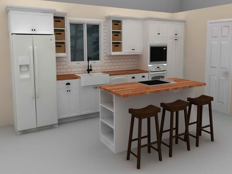 Build Your Own Kitchen Exlusive And Simple Design White Drawer Fridge Countertop With Three Bar Stools Small Windows