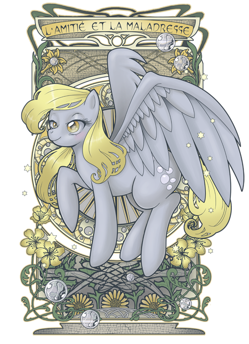 Derpy Nouveau by *hezaa: (French writing on top-L'amitié et la maladresse=Friendship and clumsiness)