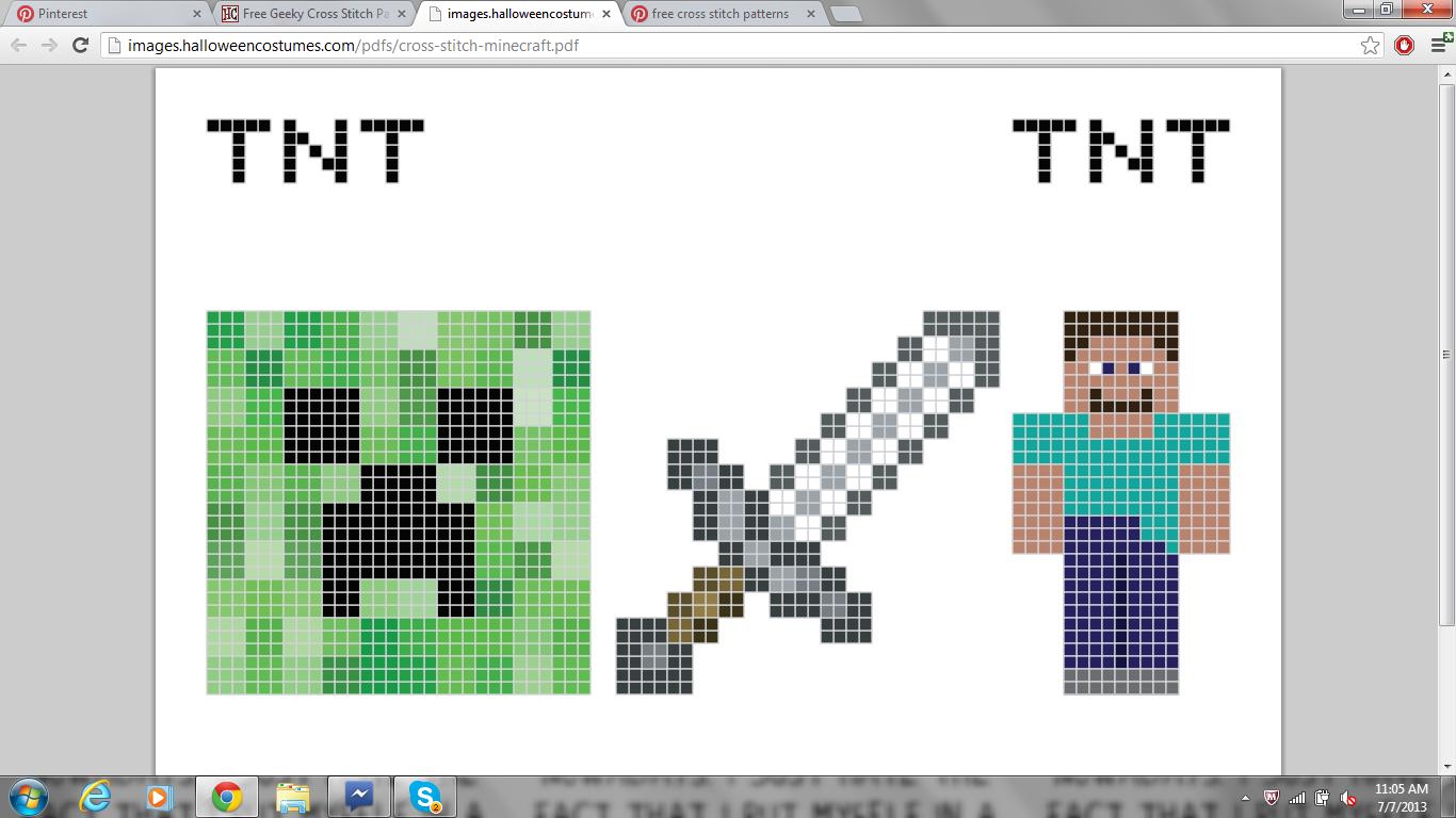 creeper,sword,person...enjoy   minecraft cross stitch/crochet free ...