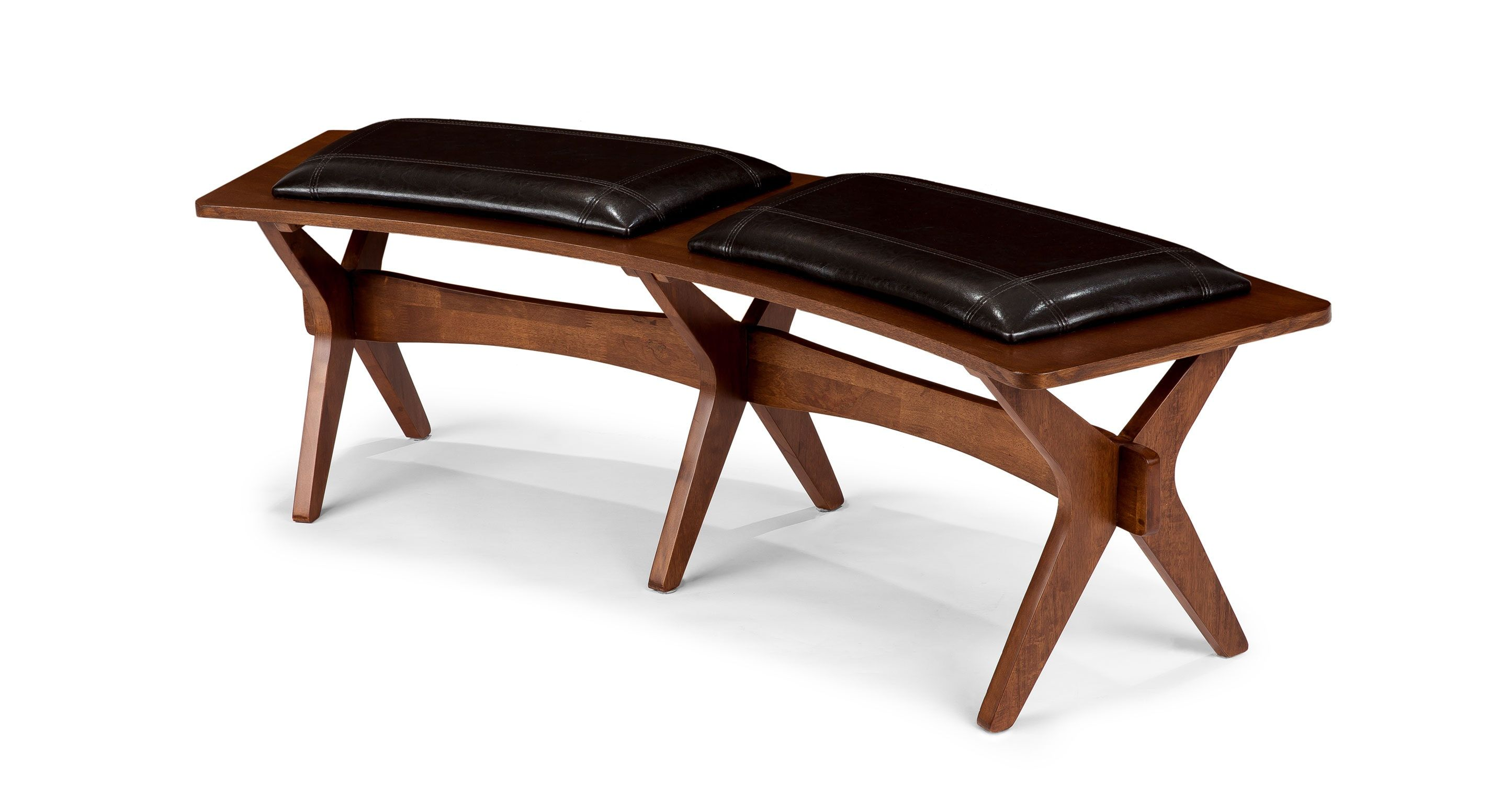 Brown Leather Dining Bench   Walnut Wood | Article Conan Modern Furniture