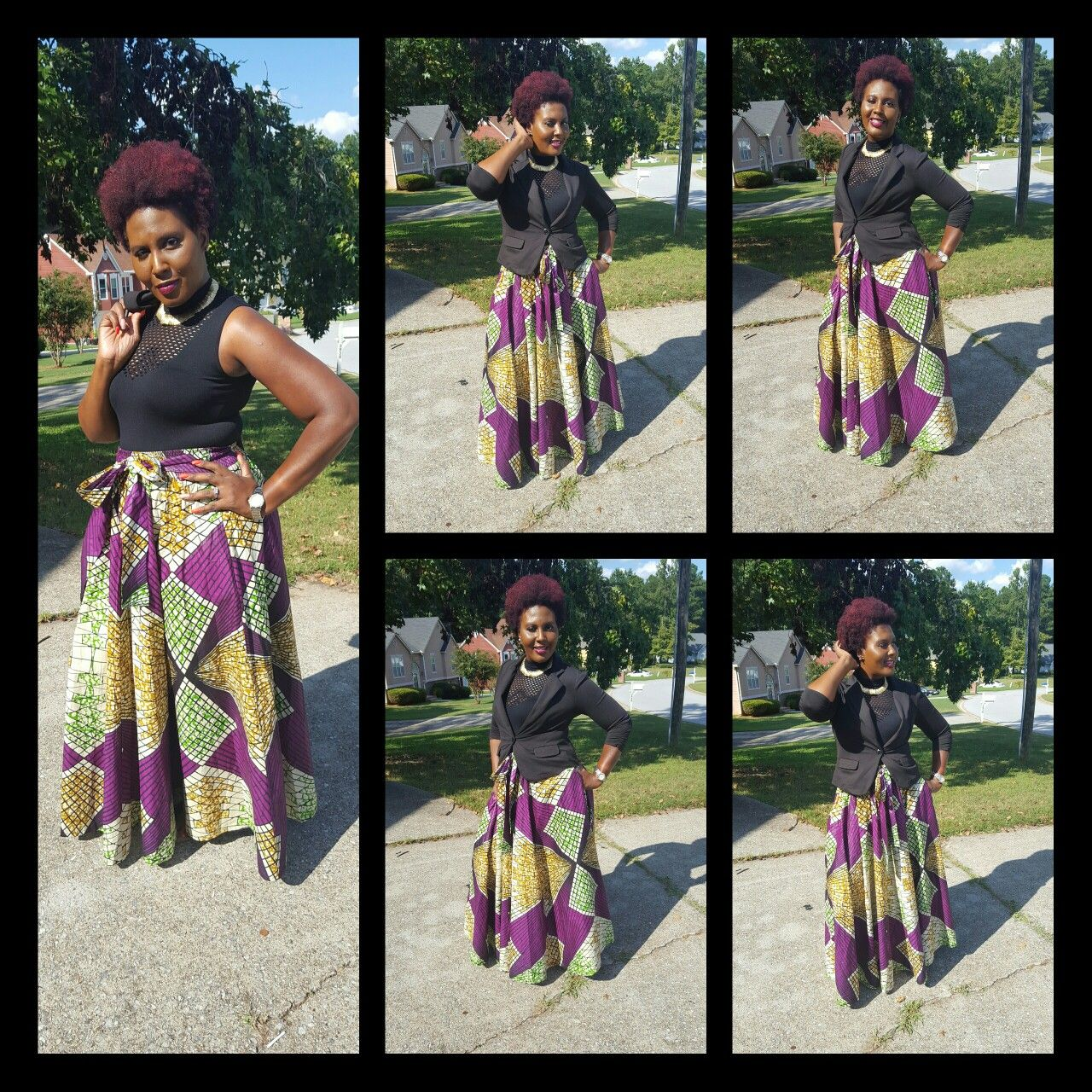African wax skirts / purple multi