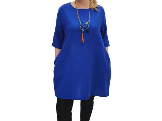 Linen Tunic Summer Top Loose Lagenlook Blouse Short Sleeve Plus Size [l1064_royalblue] #linentunic