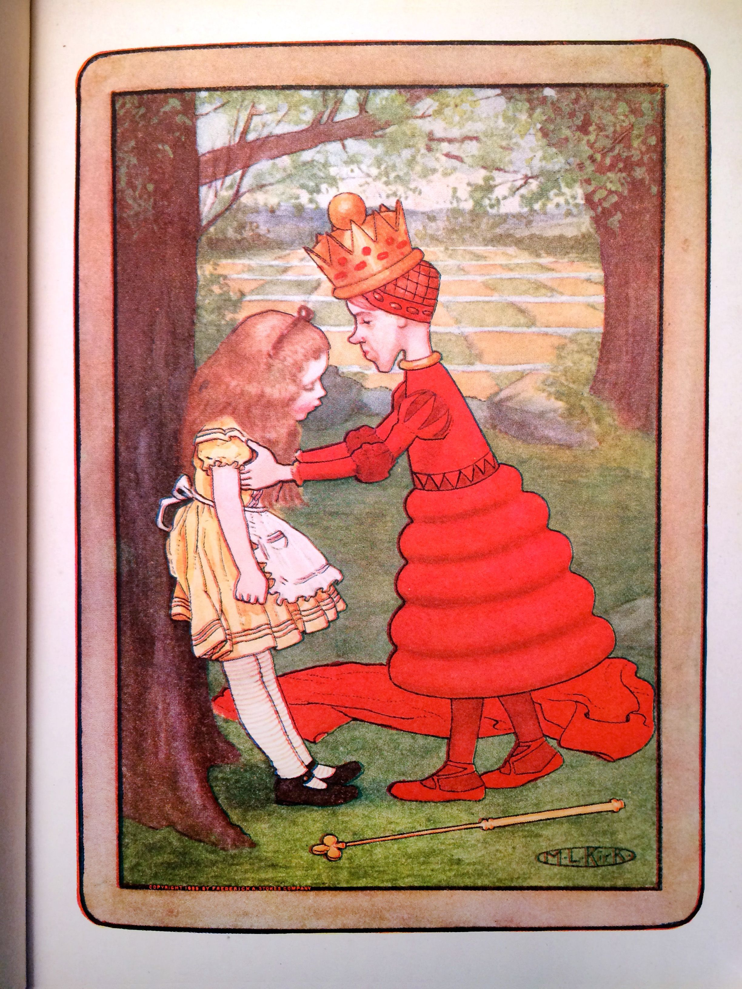 Through The Looking Glass. Lewis Carroll. Illustrated by M.L. Kirk & John Tenniel. Frederick A. Stokes Co - NY. c1904