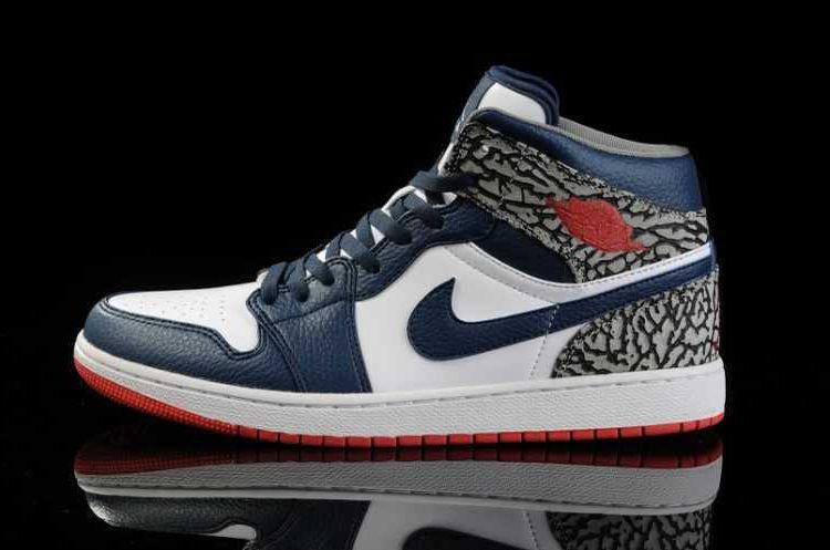 official photos bf7f2 5ef1a Nike Air Jordan 1 Mens Air Cushion White Navy Blue Red Shoes