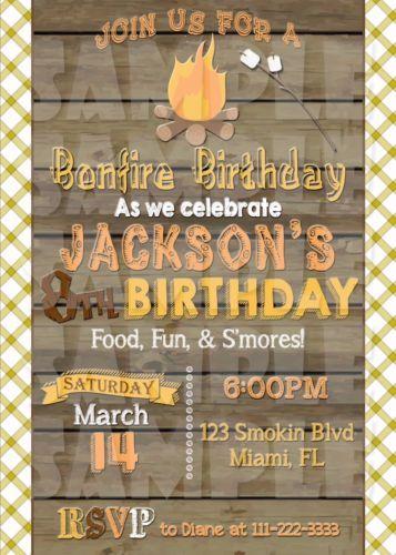 Bonfire Invitation Bonfire Birthday Invitation Camping Party