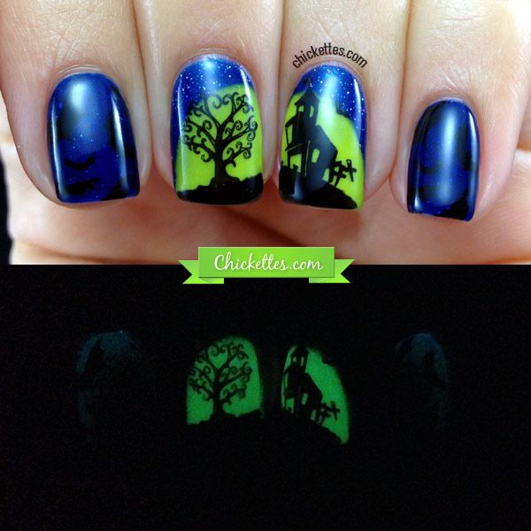 Glow-in-the-Dark Haunted House Halloween Nail Art - Chickettes ...