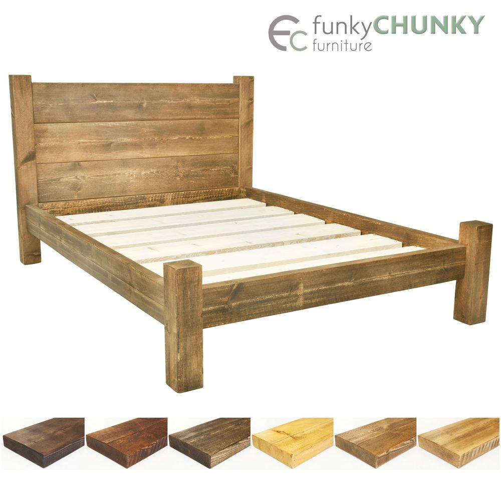 Bed Frame Chunky Solid Rustic Wood with Headboard and Storage Room