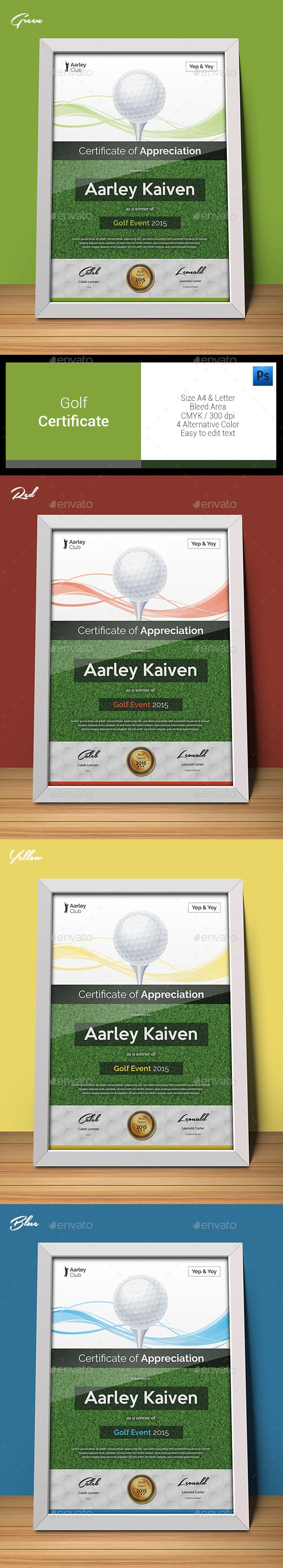 Golf certificate certificate golf and template golf certificate template psd download here httpgraphicriver alramifo Choice Image