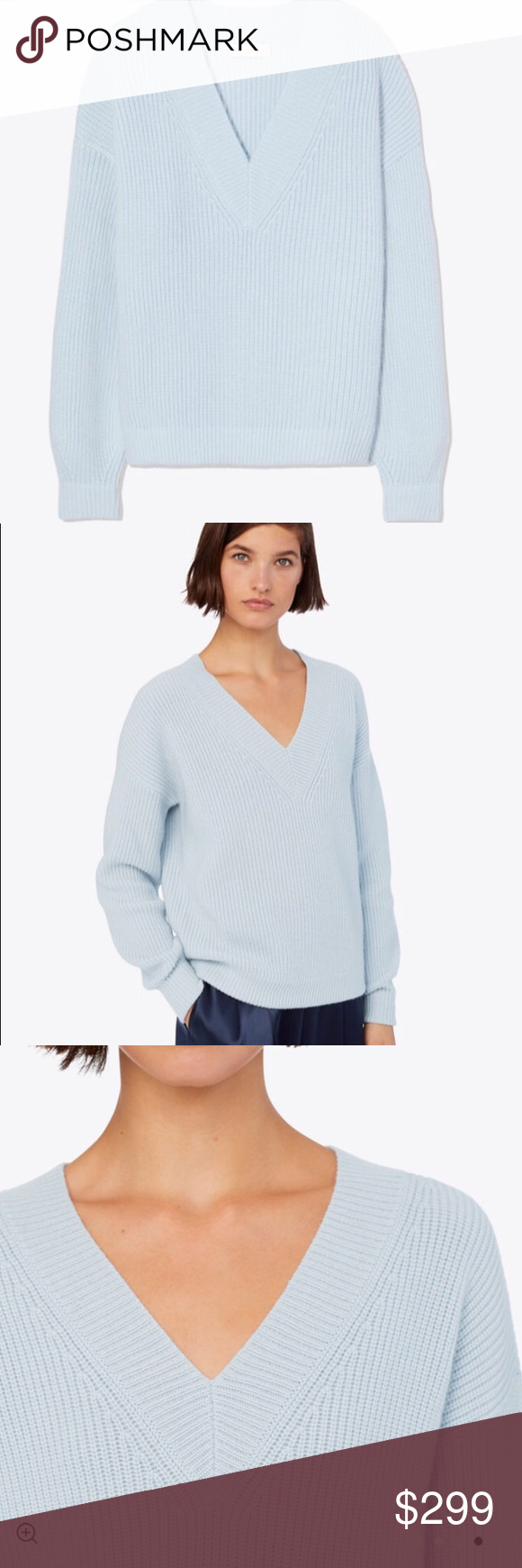 cdf29e4f943 Light blue oversized V neck sweater Tory Burch light blue oversized v-neck  sweater