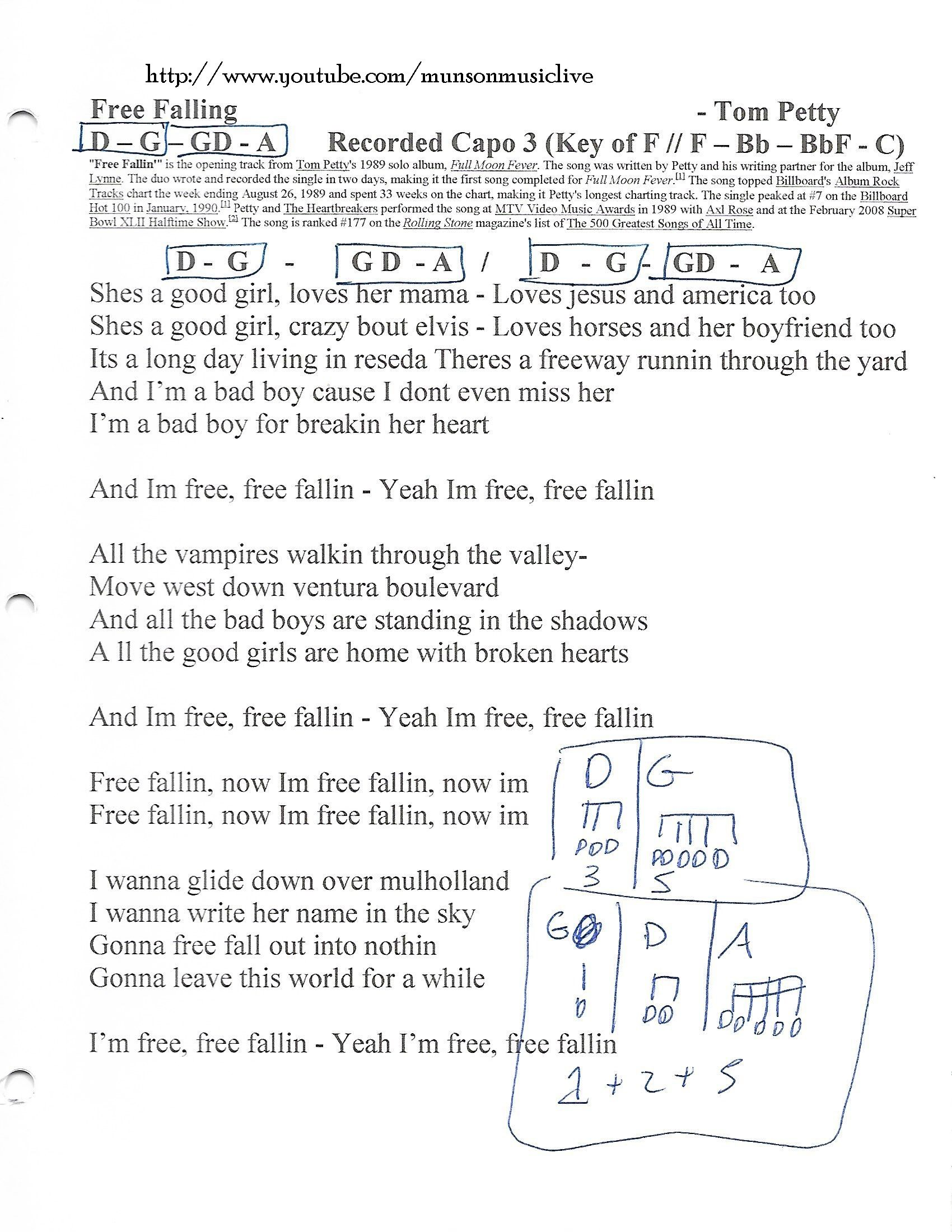 Free Fallin Tom Petty Guitar Chord Chart Tom Petty Pinterest