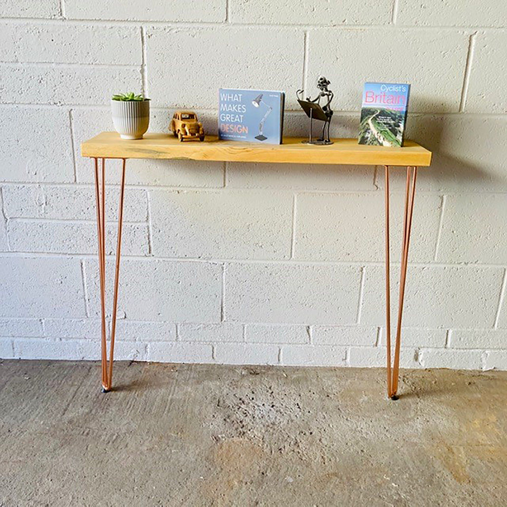 Console Table/Radiator Table 140cm x 22cm Industrial Urban Contemporary With Metal Hairpin Legs - Clear Coat / Walnut / 140cm