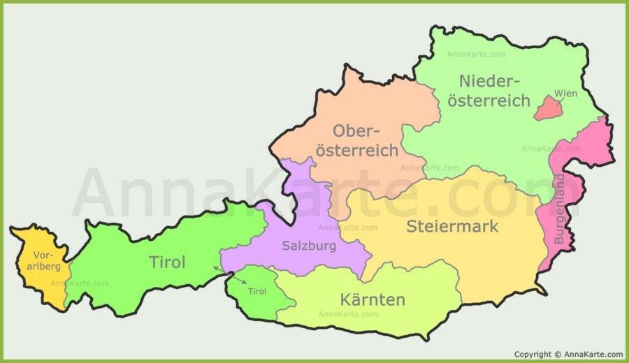 Osterreich Karte Mit Bundeslander Karte Bundeslander Osterreich
