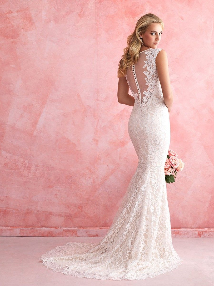 allure-romance-2812-lace-wedding-dress-sheath-jewel-neckline ...