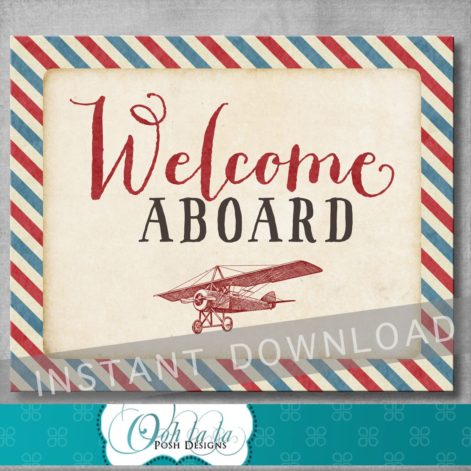 Welcome Aboard Sign 8x10 Inches Vintage Airplane Baby Shower