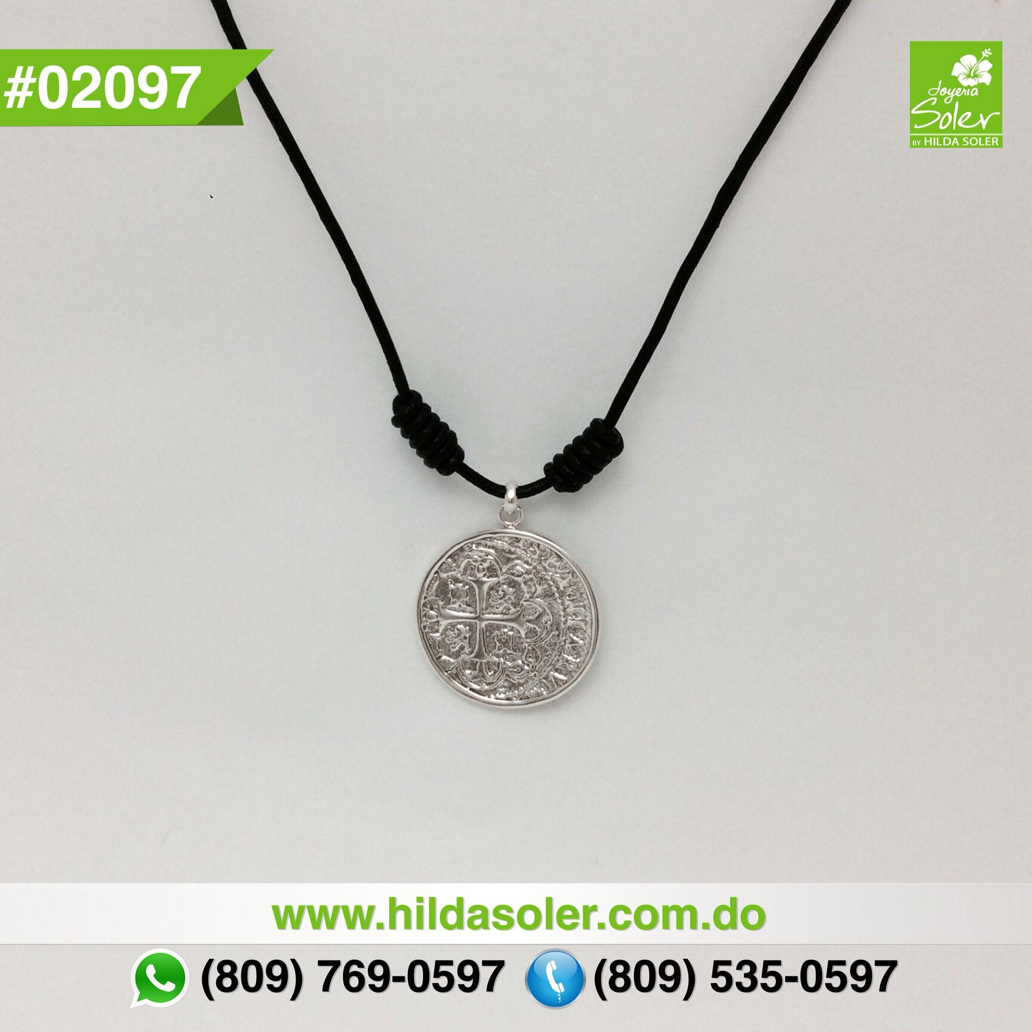 Cordón en piel con moneda en plata 925 RD $2,600 pesos