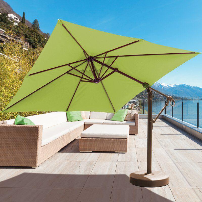 Galtech 10 Ft Square Cantilever Sunbrella Aluminum Patio Umbrella With Wheeled Base Patio Patio Umbrella Offset Patio Umbrella