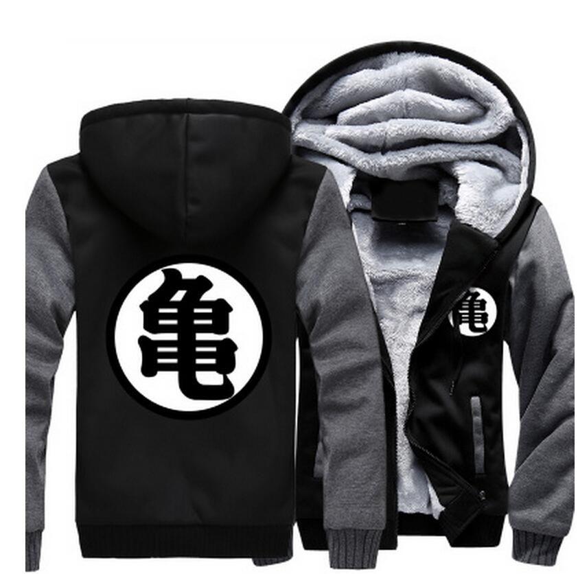 Dragon Ball Master Roshi Kanji Symbol Grey Black Zipper Hooded Jacket Saiyan Stuff Hoodies Goku Jacket Hoodies Men