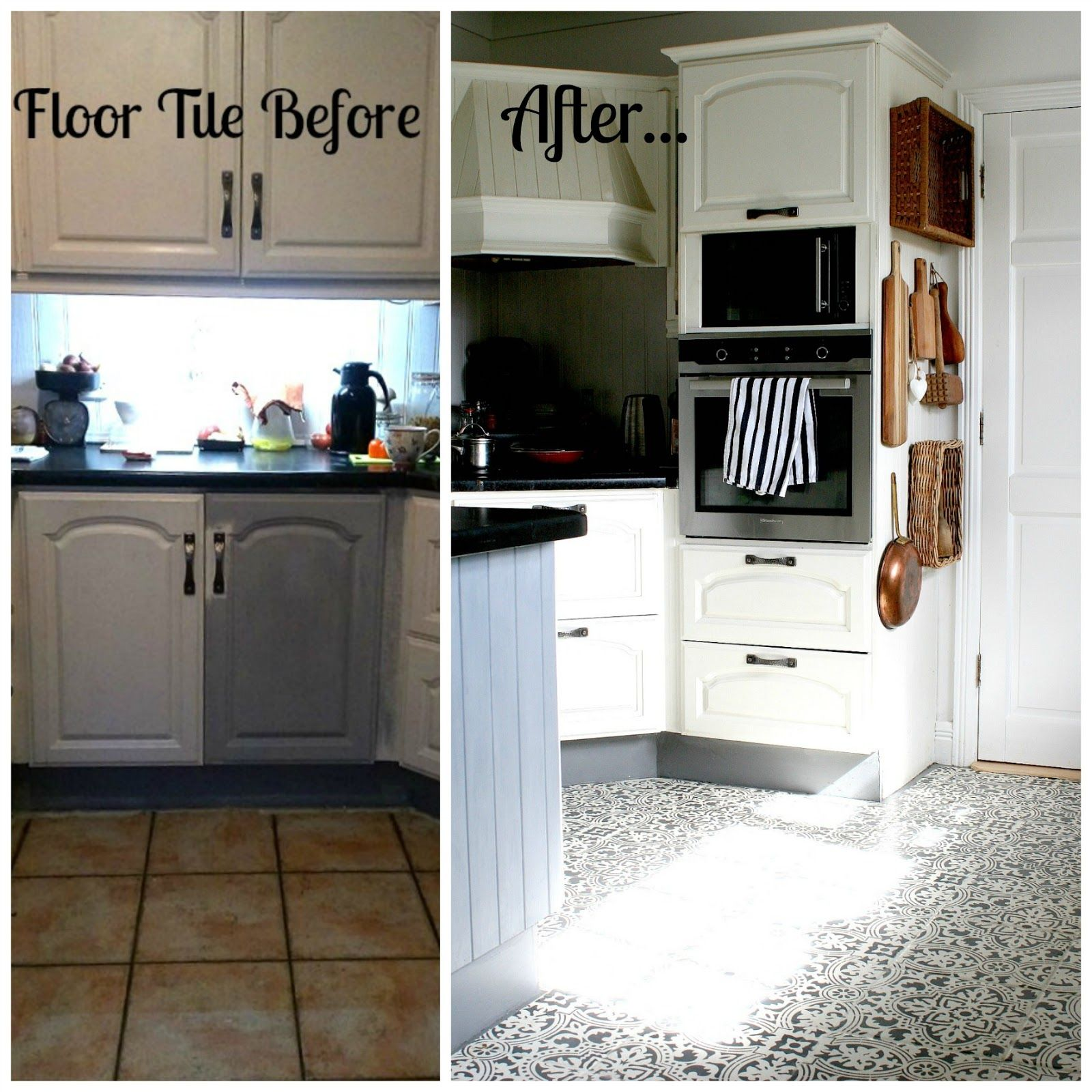 Paint It White Interiors How To Stencil Kitchen Floor Tile How It Held Up One Year Later Painted Kitchen Floors Kitchen Flooring Kitchen Floor Tile