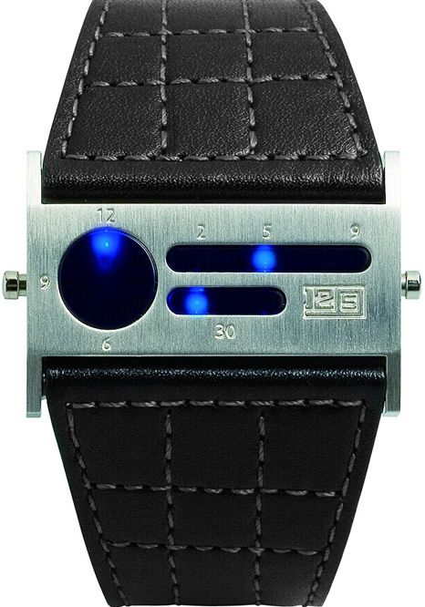 Seahope 1259B Blue Watch - When you push the button..the LEDs race across the screen in a seemingly erratic or malfunctioning pattern before stopping at  the current time.    12  lights on the left in the circle for the hours, then on the bottom there are 5 lights 10, 20, 30, 40, 50 for the minutes. Finally on the top bar you have 9 lights for the minutes between.    Cool Watches from Watchismo.com