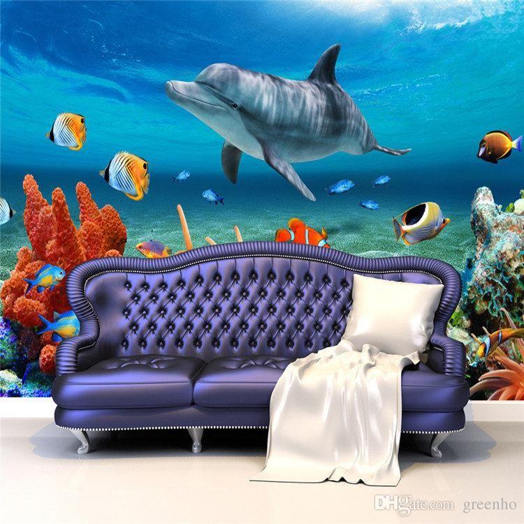 Lovely 3D Custom Cute Dolphin Coral Photo Wallpaper Sea World Wall Mural  Childrenu0027s Room Nursery Bedroom