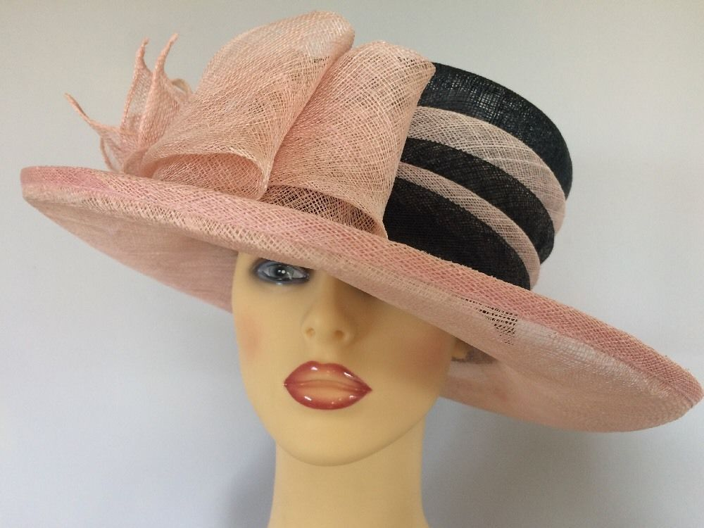 Ladies Formal Occasion Wedding Races Mother Bride Hat Peach   Black Viyella 223e2d854d6
