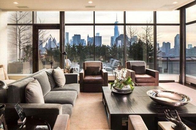 Penthaus Wohnung neutrale Farbe einrichten Ideen Glas Fassade ...